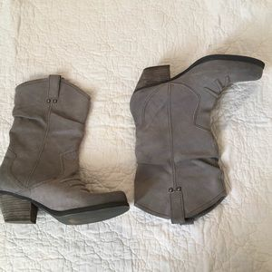 BCBG Grey Suede Slouch Boots Size 10 / 40